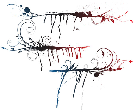 illustration set of Ink splashes, strokes and stains with abstract decorative floral elements   Vector