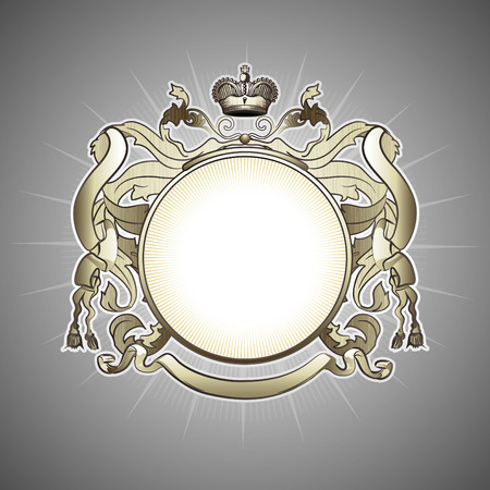coats of arms: illustration of abstract luxury golden heraldic frame Illustration