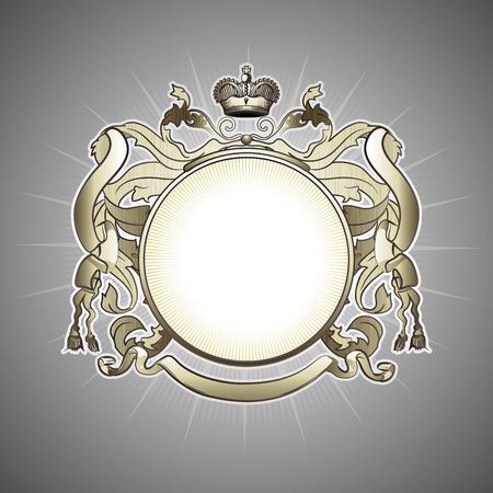 escudo de armas: Ilustraci�n de la her�ldica de abstracta lujo dorado de marco Vectores