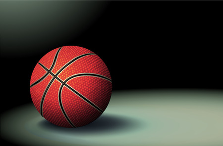 reflection of life: illustration of detailed basketball ball with shadow on the dark background