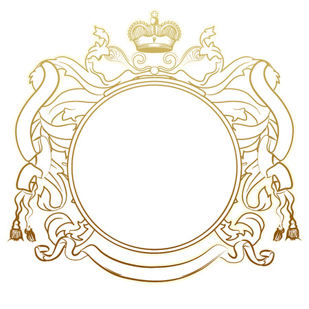 coat of arms  shield: illustration of abstract luxury golden heraldic frame Illustration