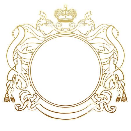 illustration of abstract luxury golden heraldic frame