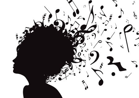 illustration of abstract Young girl face silhouette in profile with musical hair