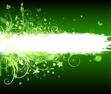 illustration of green funky Grunge futuristic background with shiny floral Decorative banner illustration