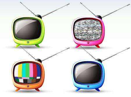 television set: illustration of funky styled design of cute television