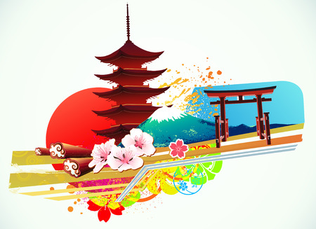japanese temple: illustration of abstract styled Decorative Traditional Japanese background