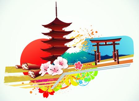 flor de sakura: Ilustración de resumen con el estilo decorativo fondo japonés tradicional