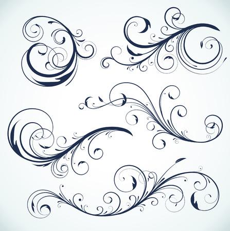 illustration set of swirling flourishes decorative floral elements  Stock Vector - 7156764
