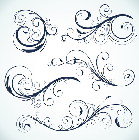 illustration set of swirling flourishes decorative floral elements