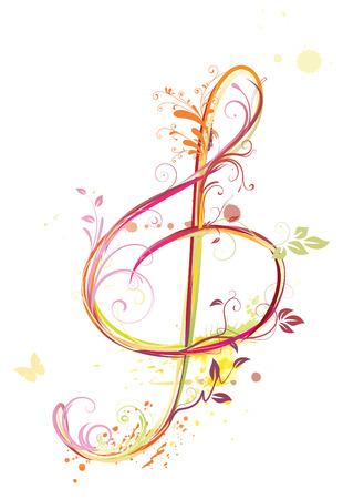 clave de sol: Ilustraci�n de fondo abstracto de m�sica floral con agudos clef