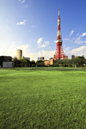 high park: Downtown view with Tokyo Tower - located in Shiba Park, Minato, Tokyo, Japan Editorial