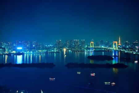 tourist spot: The landscape of Rainbow Bridge and the city which are night at a tourist spot in Tokyo