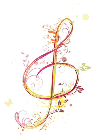 simbolos musicales: Ilustraci�n de fondo abstracto de m�sica floral con agudos clef