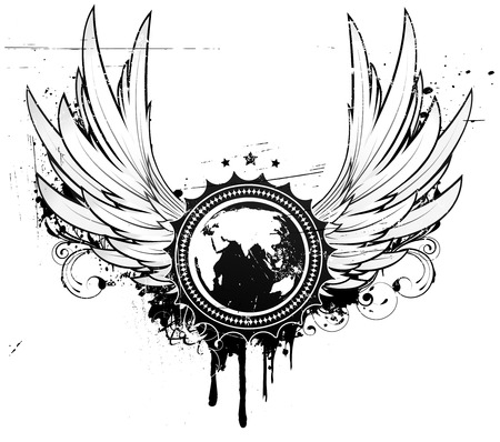 grunge shape: illustration of grunge insignia or badge with two wings, floral elements and a globe in the central part of composition