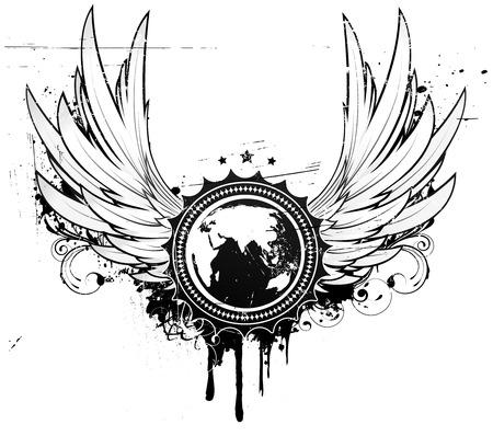 grunge wings: illustrazione del grunge insegne o distintivo con due ali, elementi floreali e un globo nella parte centrale della composizione  Vettoriali
