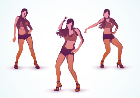 illustration of  dancing at the disco abstract sexy girls  Vector