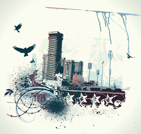 Ilustración de fondo urbano con grunge teñida de elementos de diseño