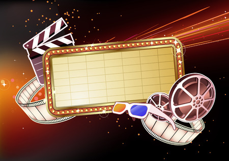 hollywood movie: illustration of  retro illuminated Movie marque Blank sign  Illustration