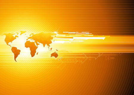 glowing earth: illustration of orange abstract hi-tech Background with Glossy world map