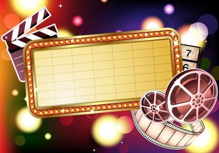 illustration of  retro illuminated Movie marque Blank sign  illustration