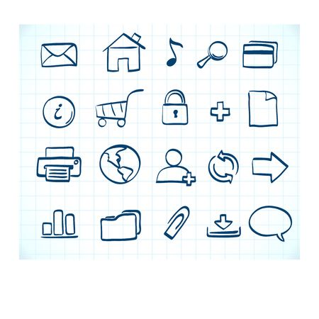 illustration of style handwriting icon set  for common internet functions Stock Illustration - 7245215