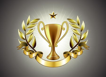 golden laurel wreath: illustration of golden Trophy with laurel wreath and ribbon badge to put a text
