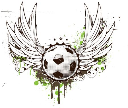 illustration of grunge football insignia or badge with two wings and floral elements illustration