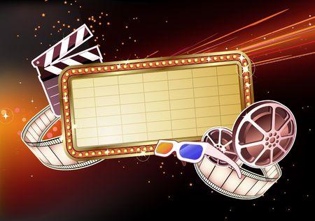 movie sign: Ilustraci�n de retro Movie marca en blanco se�al luminosa