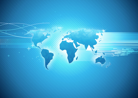 network map: Vector illustration of blue abstract hi-tech Background with Glossy world map