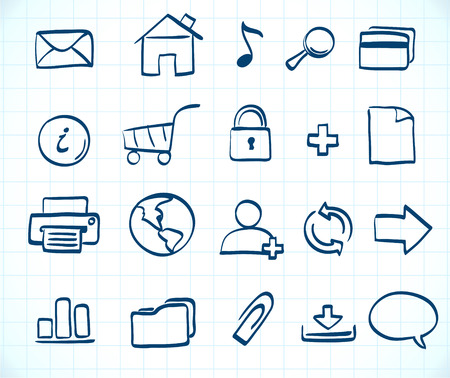 Vector illustration of style handwriting icon set  for common internet functions Stock Vector - 7280100