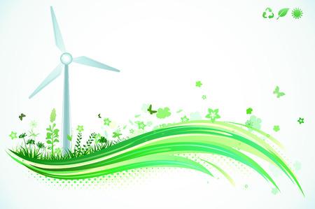 発電機: 緑の環境の背景のベクトル イラスト