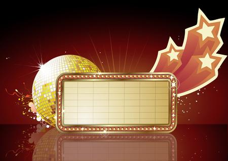 premiere: Vector illustration of  retro illuminated Movie marque Blank sign