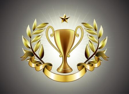 trofeo: Ilustraci�n vectorial del trofeo dorado con insignia de corona y cinta de laurel para poner un texto