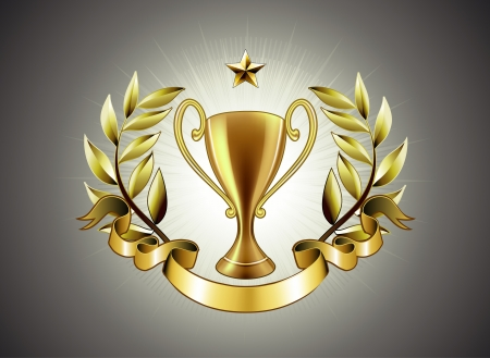 sports trophy: Vector illustration of golden Trophy with laurel wreath and ribbon badge to put a text Illustration