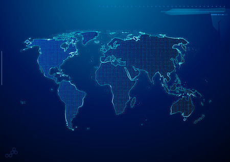 network map: Vector illustration of blue abstract hi-tech Background with world map