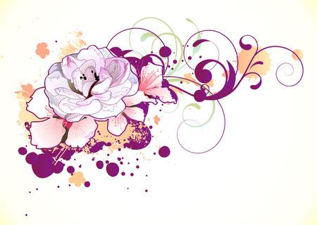 rose bush: Vector illustration of grunge Floral Decorative background
