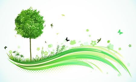 arbol p�jaros: Ilustraci�n vectorial de fondo de l�neas abstracta verdes - composici�n de las l�neas curvas, elementos florales y �rbol de funky.  Vectores