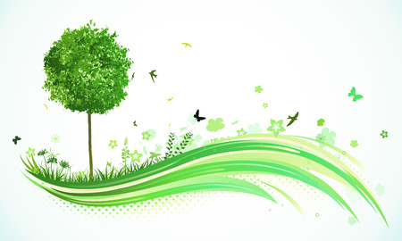 green environment: Vector illustration of green abstract lines background - composition of curved lines, floral elements and funky tree.  Illustration