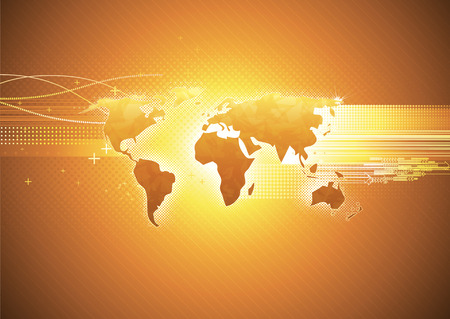 world communication: Vector illustration of orange abstract hi-tech Background with Glossy world map