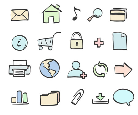 mail truck: Vector illustration of style handwriting icon set  for common internet functions