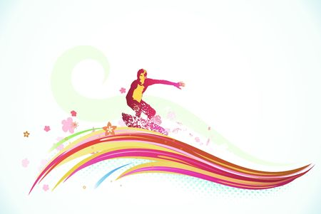 illustration of summer background with a surfer riding a huge abstract wave Stock Illustration - 7412870