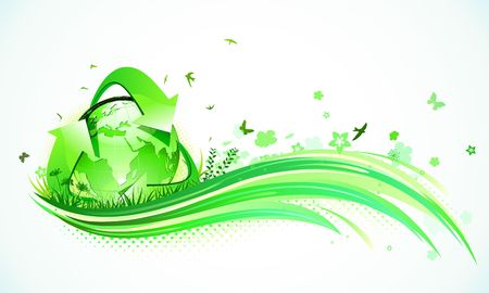 illustration of green abstract lines background - composition of curved lines, floral elements and recycling symbol.  illustration