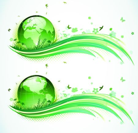 illustration of green abstract lines background - composition of curved lines, floral elements and globe. Stock Illustration - 7442145
