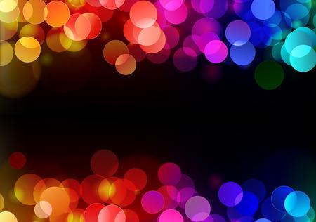 Ilustración del patrón de discoteca puntos de luz de neón borrosa sobre fondo oscuro