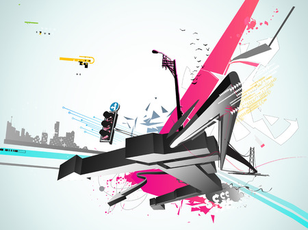 urban youth: Vector illustration of styled Decorative urban background