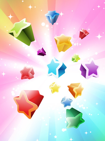 Vector illustration of Colorful Stars Background - great for greeting and birthday postcards, flyers and many more celebration items