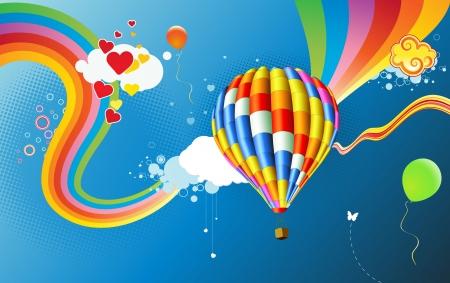 felicit�: Illustrazione vettoriale di colorato sfondo astratto con pallone ad aria calda funky - grande per il saluto e compleanno cartoline, volantini e molti pi� elementi di celebrazione