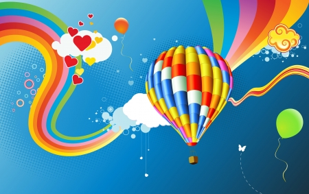 romantic travel: Vector illustration of Colorful abstract Background with funky hot air balloon - great for greeting and birthday postcards, flyers and many more celebration items