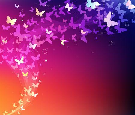 Ilustración de fondo abstracto con muchas de las mariposas de silueta de diferentes formas volando alrededor de  Foto de archivo