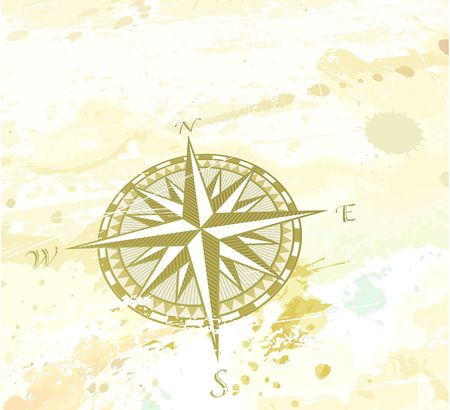 windrose: illustration of vintage grunge background with retro compass windrose. Great for any  Stock Photo